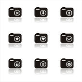 Black photography icons — Stock Vector