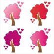 St. valentine's day trees — Stock Vector