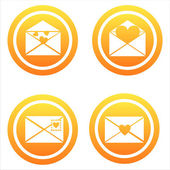 Orange love letters signs — Stock Vector
