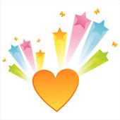 Corazón con splash star — Vector de stock