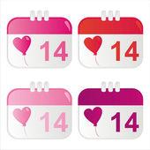 St. valentine's day calendar icons — Stock Vector