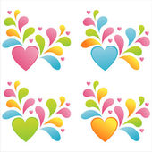 Hearts with splashes — Stock Vector