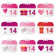 Royalty-Free Stock Vector Image: St. valentine\'s day calendar icons