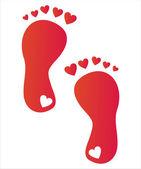 ногой шаги с сердечками — Cтоковый вектор