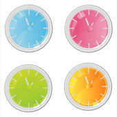 Colorful clocks icons — Stock Vector