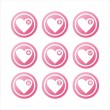 Stock Vector: Pink hearts signs