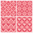 Stock Vector: Cute hearts patterns