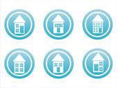 Blue buildings signs — Vector de stock