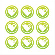 Stock Vector: Green hearts signs