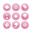 Pink nature icons — Stock Vector