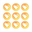 Stock Vector: Orange hearts signs