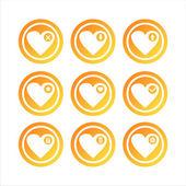 Orange hearts signs — Stock Vector