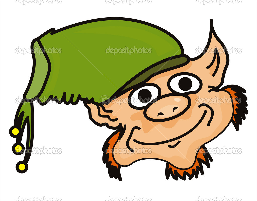 Funny leprechaun face isolated on white — Stock Vector #4937433