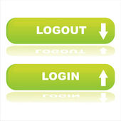 Web buttons login and logout — Stok Vektör