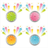 Clocks with splashes — Stock Vector