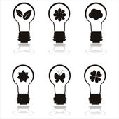Black eco lamp icons — Stock Vector