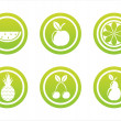 Stock Vector: Green fruits signs