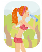 Sporty girl drinking water — Stock Vector