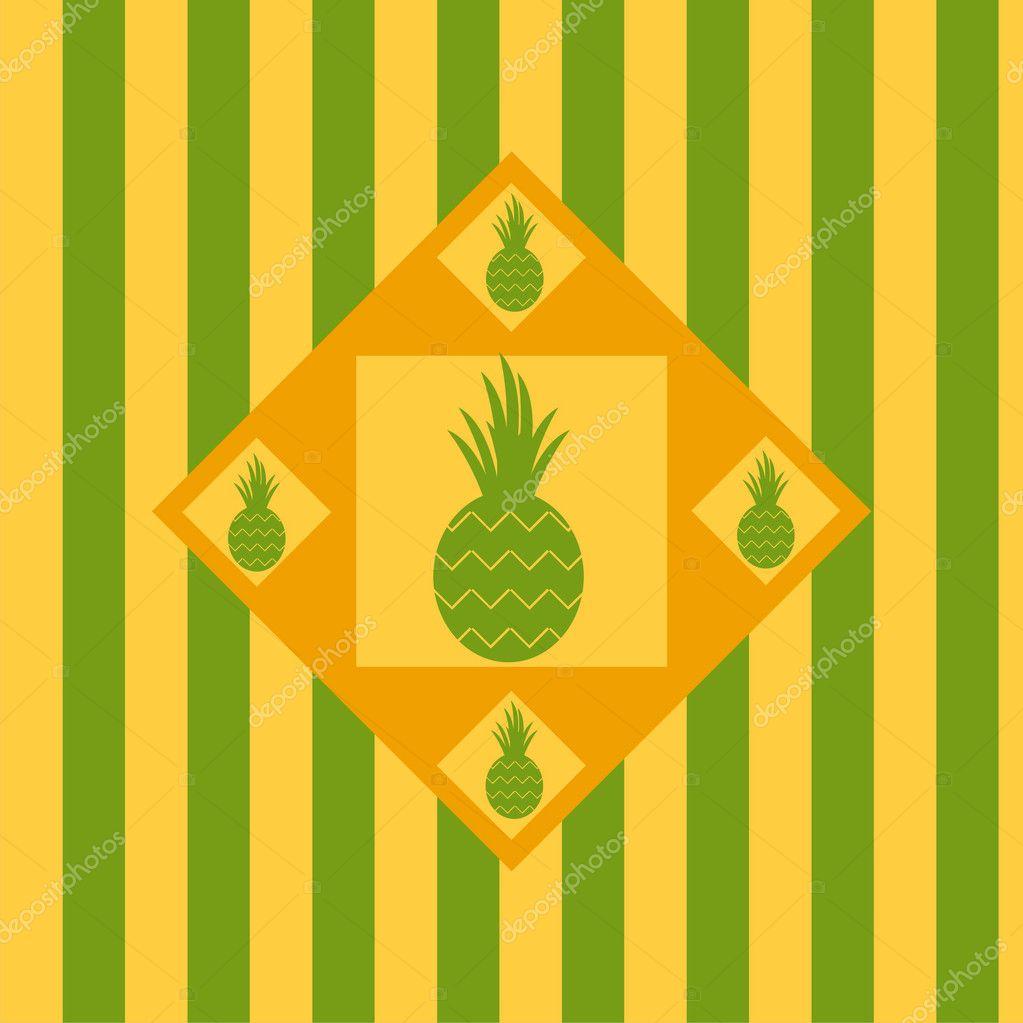 可爱菠萝背景– 图库插图