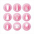 Pink cosmetics signs — Stock Vector