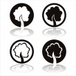 Black trees signs — Stock Vector