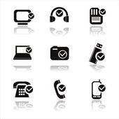 Black technology with checks icons — Stock Vector