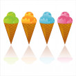 Colorful ice-creams icons — Stock Vector