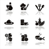 Black restaurant icons — Stock Vector