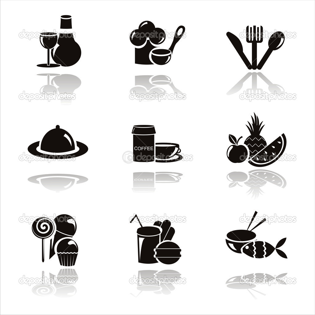 set of 9 black restaurant icons — Stock Vector #5321199