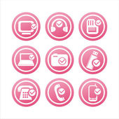 Pink technology with checks signs — Stock Vector