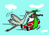 Santa flying with crane — Stock Photo