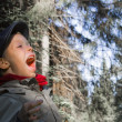 Royalty-Free Stock Photo: Boy screaming in the forest