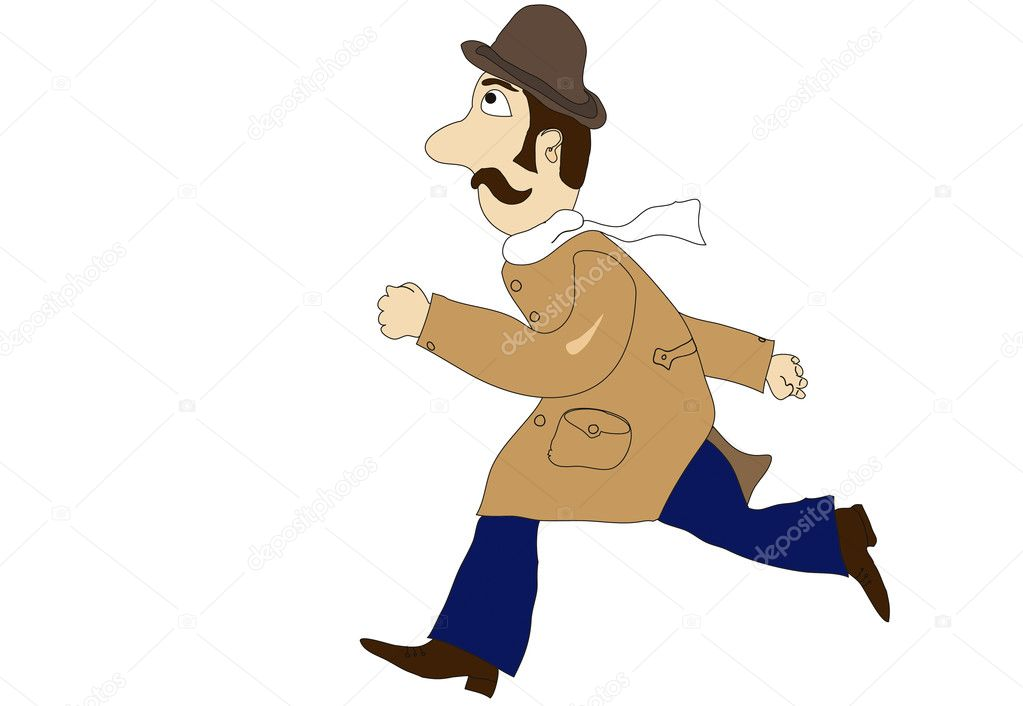 Gentleman in overcoat ranning with high speed foward — Stock Vector #3956345