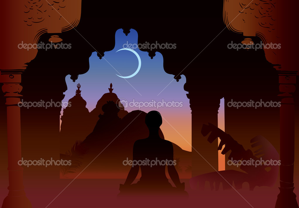 Indian moon night temple and yogi under old arch — Stock Vector #4135013