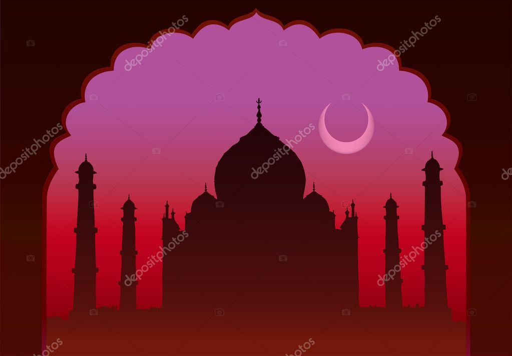 Indian moon night Taj Mahal temple and old arch — Stock Vector #4135015