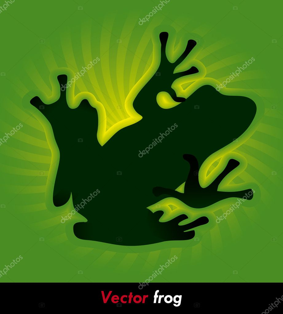 Hiking green frog on the green background — Stock Vector #4203239