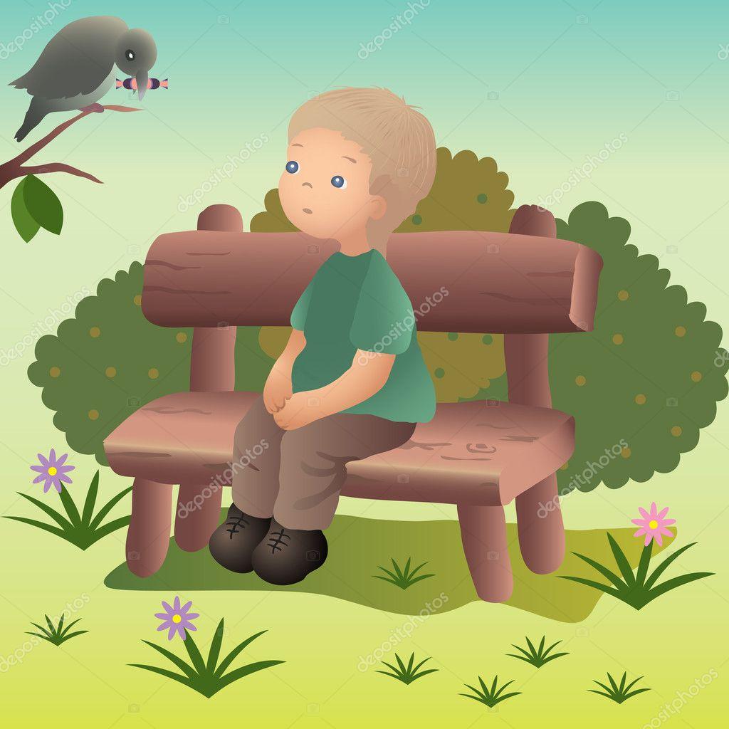 Мальчик на скамейке рисунки