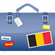 Royalty-Free Stock Vector Image: Travel Suitcase Belgium flag