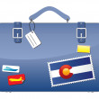 Travel Suitcase Colorado flag — Stock Vector