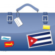 Royalty-Free Stock Vector Image: Travel Suitcase Cuba flag