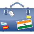 Travel Suitcase India flag — Stock Vector