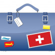 Travel Suitcase Switzerland flag — Stock Vector