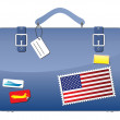 Travel Suitcase USA flag — Stock Vector