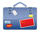 Travel Suitcase CHINA flag — Stock Vector