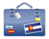Cestovní kufr colorado vlajky — Stock vektor
