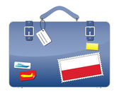 Travel Suitcase Poland flag — Stock Vector