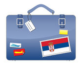 Travel Suitcase Serbia flag — Stock Vector