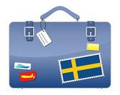 Travel Suitcase Sweden flag — Stock Vector