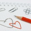 Paper clips formed as hearts — Stock Photo