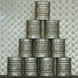 Pyramid of stacked cans — Stock Photo